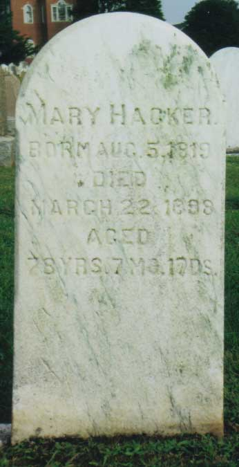 Mary Hacker gravestone
