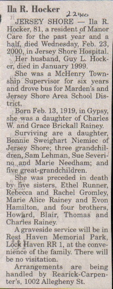 Obituary Rainey HOCKER