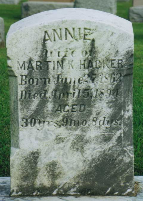 Annie (Kissinger) Hacker gravestone