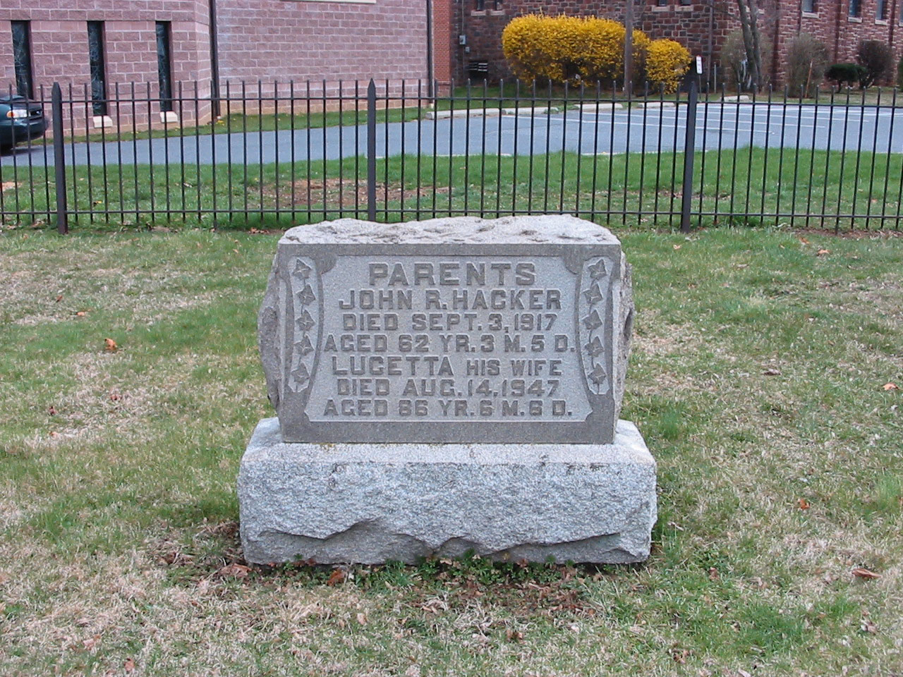 Gravestone of John R. Hacker (1854-1917) and Lucetta Hahn (1862-1947)