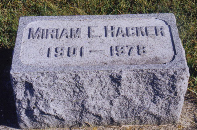 Tombstone of Miriam E. Hacker (1901-1978)