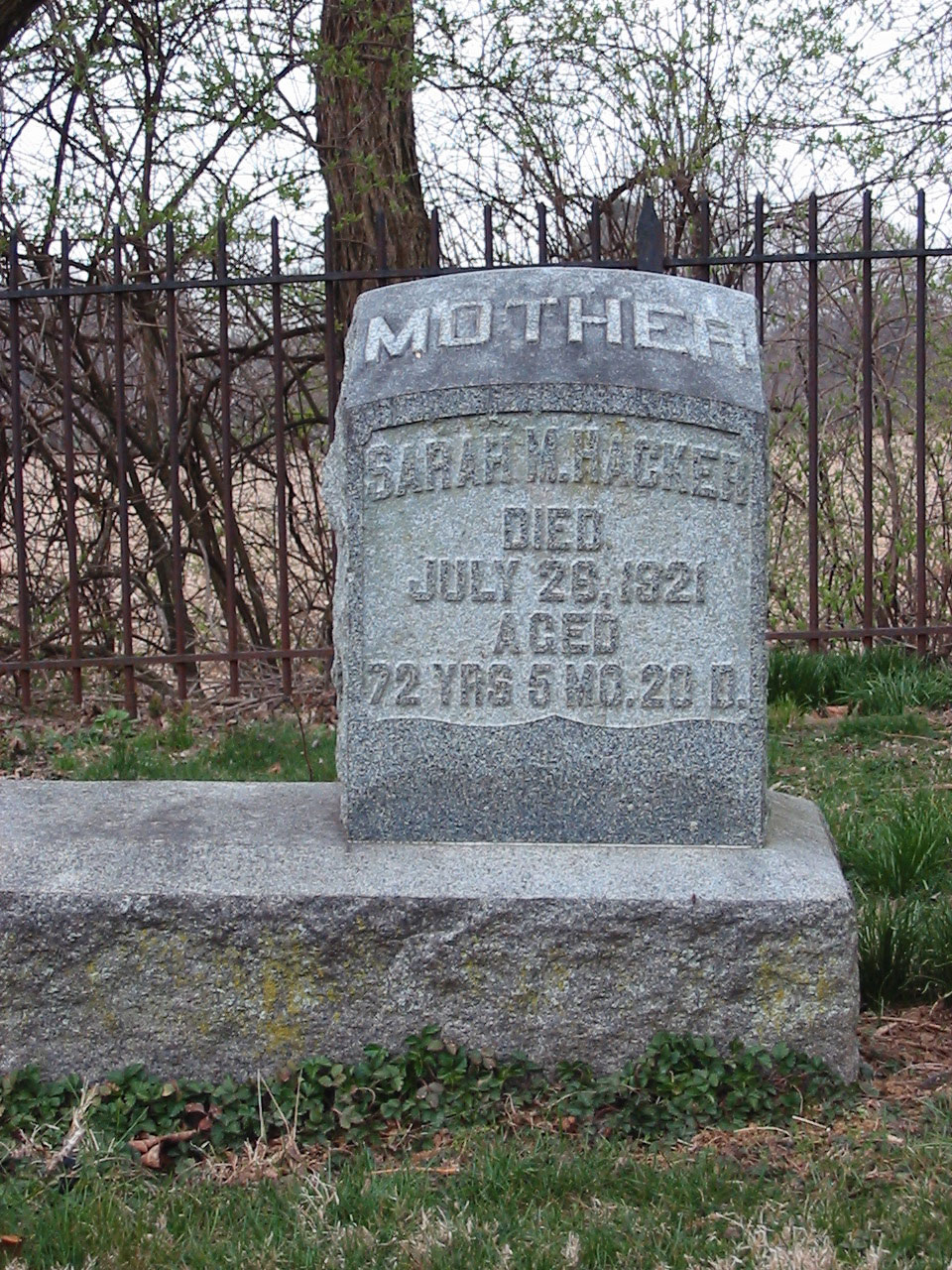 Gravestone of Sarah M. Hacker (1849-1921)