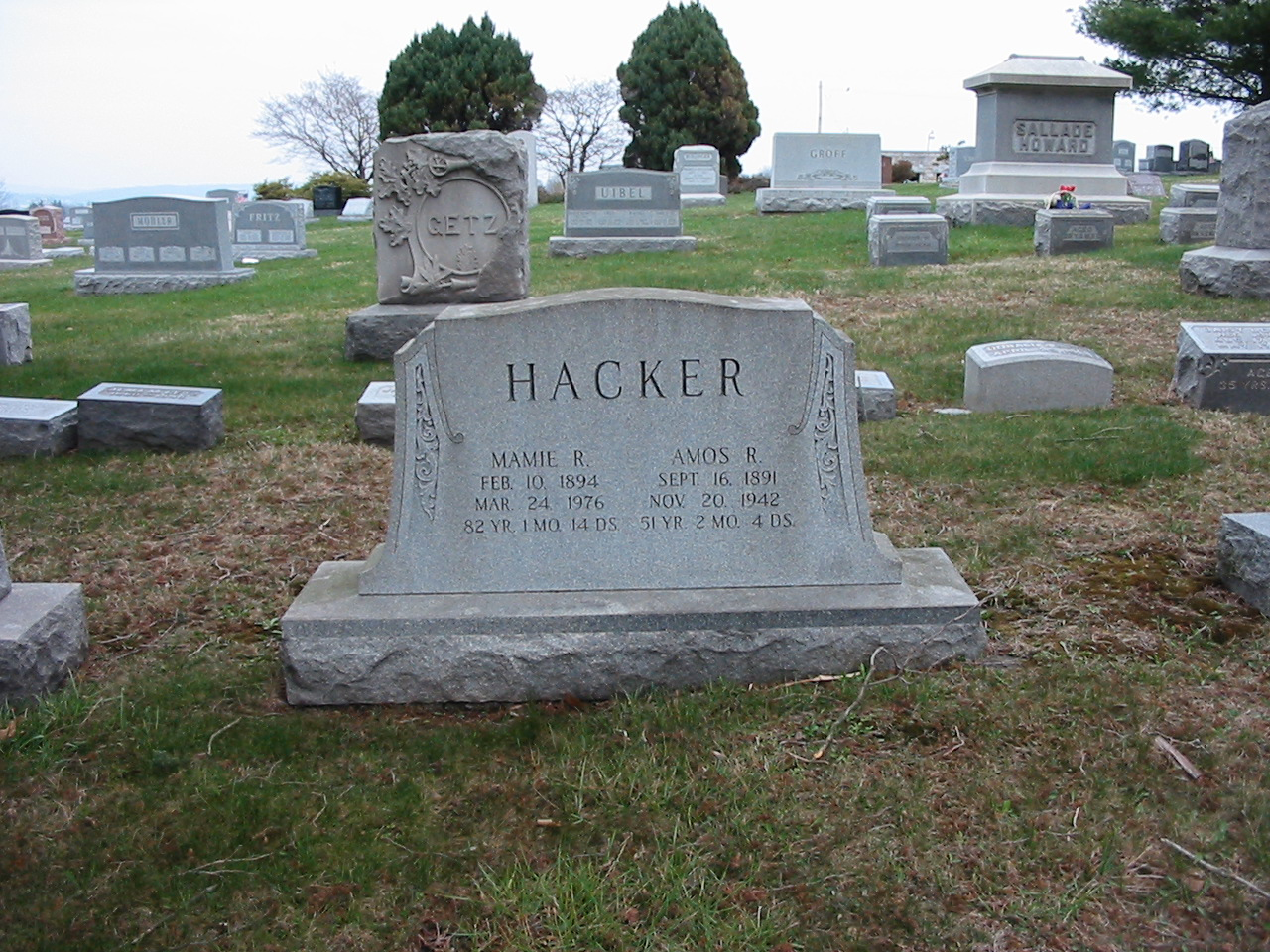 Gravestone of Amos R. Hacker and Mamie Rabold Hacker