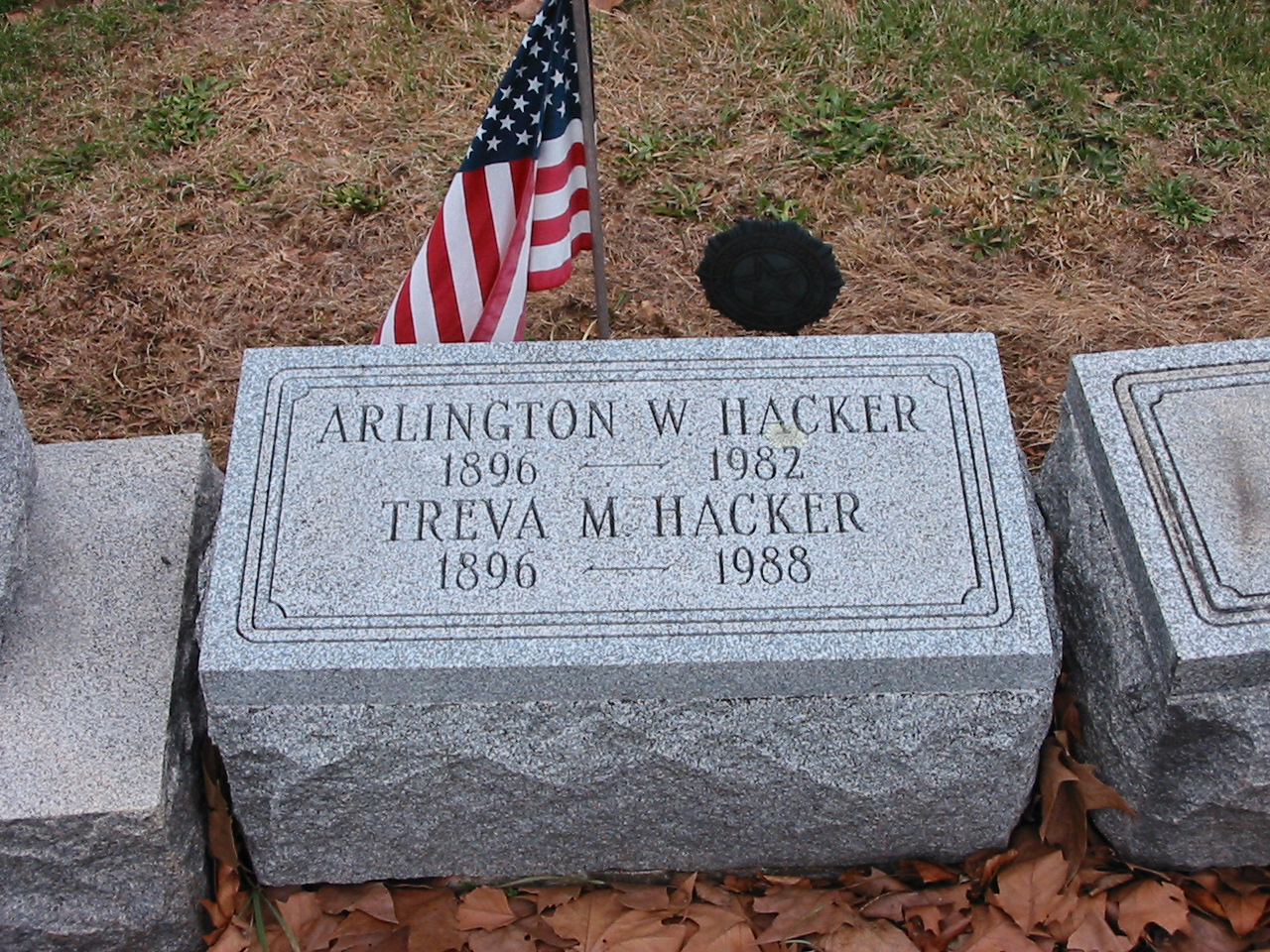 Gravestone of Arlington W. and Treva M. Hacker