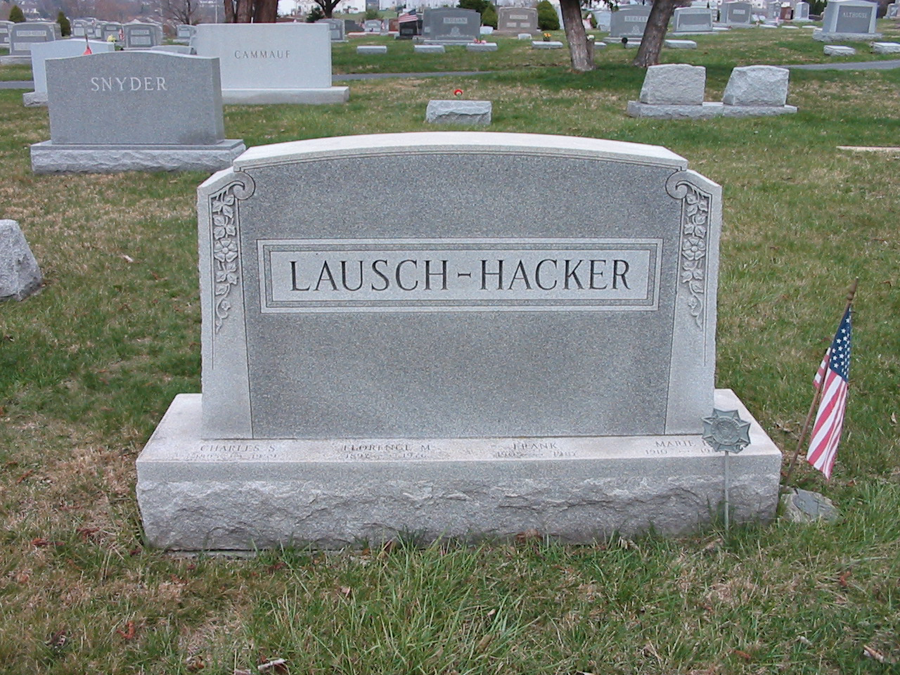 Gravestone of Charles and Florence Lausch and Frank and Marie Hacker