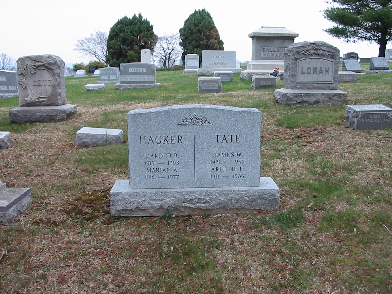 Gravestone of Harold R. and Marian A. Hacker and James W. and Arlene H. Tate