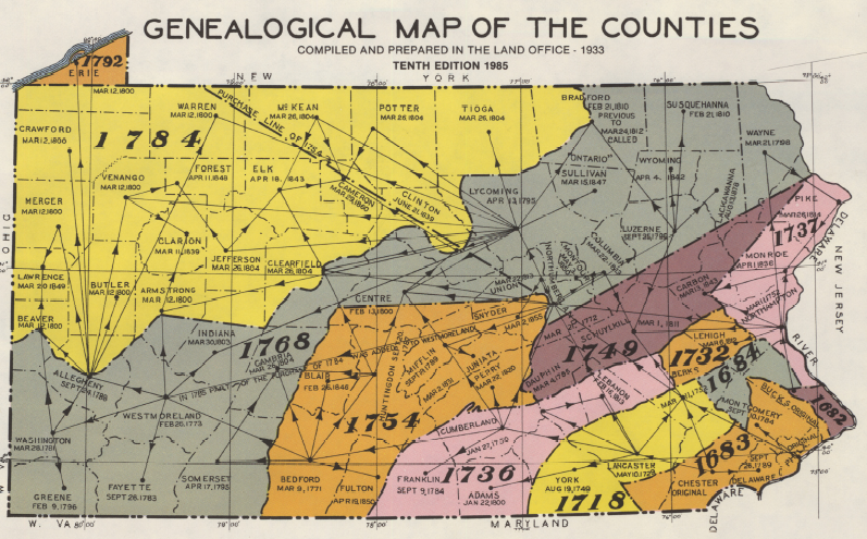 Pennsylvania Genealogical County Map: County Maps Of Pa At Slyspyder.com