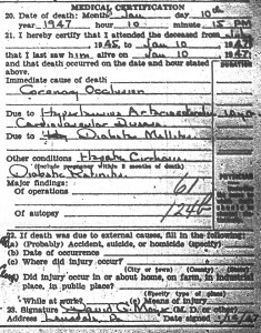 Elmer Greulich Death Certificate Medical Information