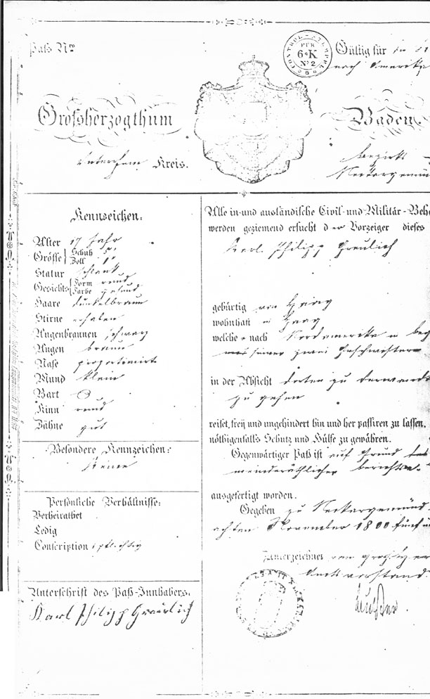 Karl Philipp Greulich Passport