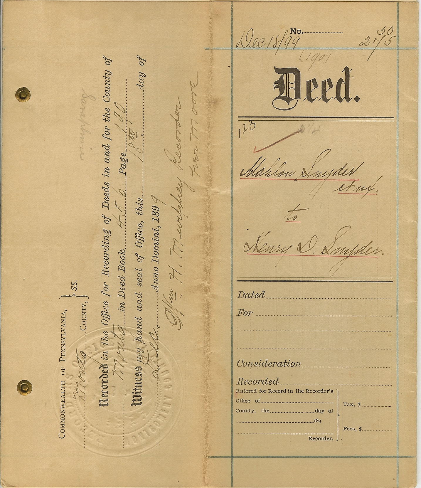 1899 Snyder Deed