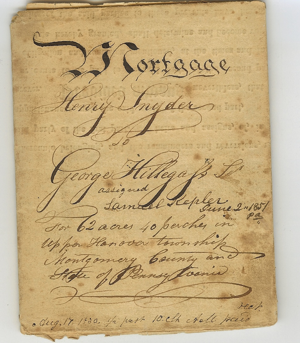 1830 Mortgage of Henry Snyder