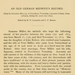 An Old German Midwife's Record