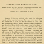 An Old German Midwife's Record, 1795-1815