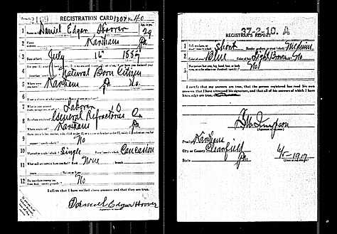 Daniel E. Hoover WWI Draft Card, 1917