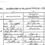 Marriage record for James Sands and Sarah Craig Buchanan of Cuilhill, Scotland on 12 July 1872.