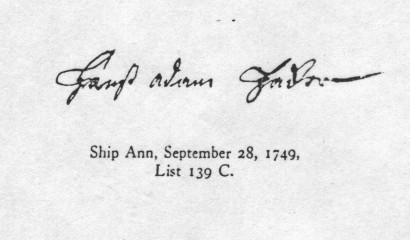 Johan Adam Hacker's signature