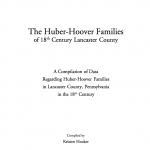 Lancaster County Hoover Families of the 18th Century