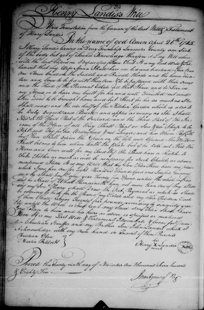 Will of Henry Landis of Derry Township