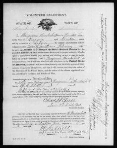 Benjamin Houdeshell Civil War Volunteer Enlistment