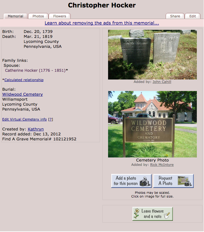Find A Grave Entry: Christopher Hocker