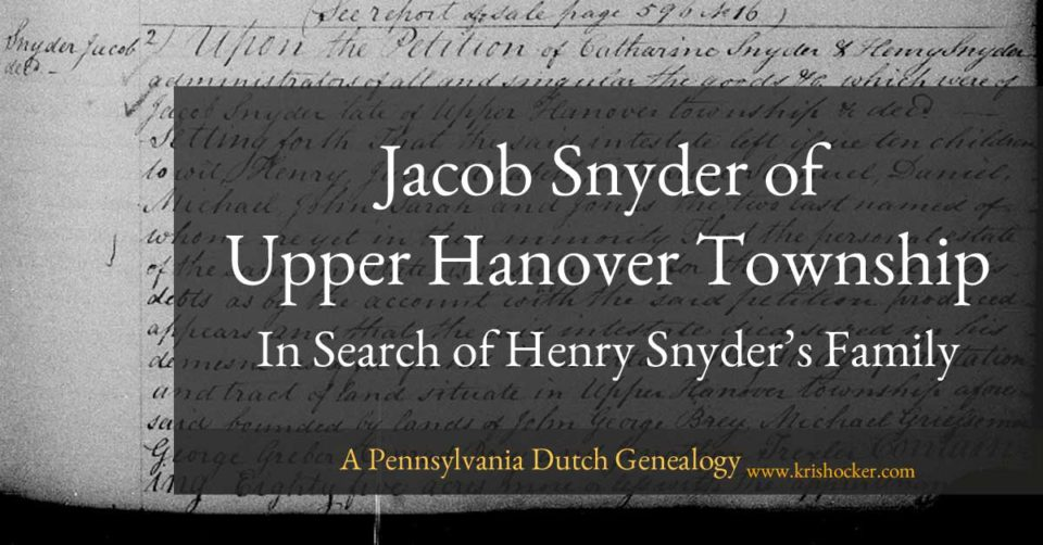 Jacob Snyder of Upper Hanover Township