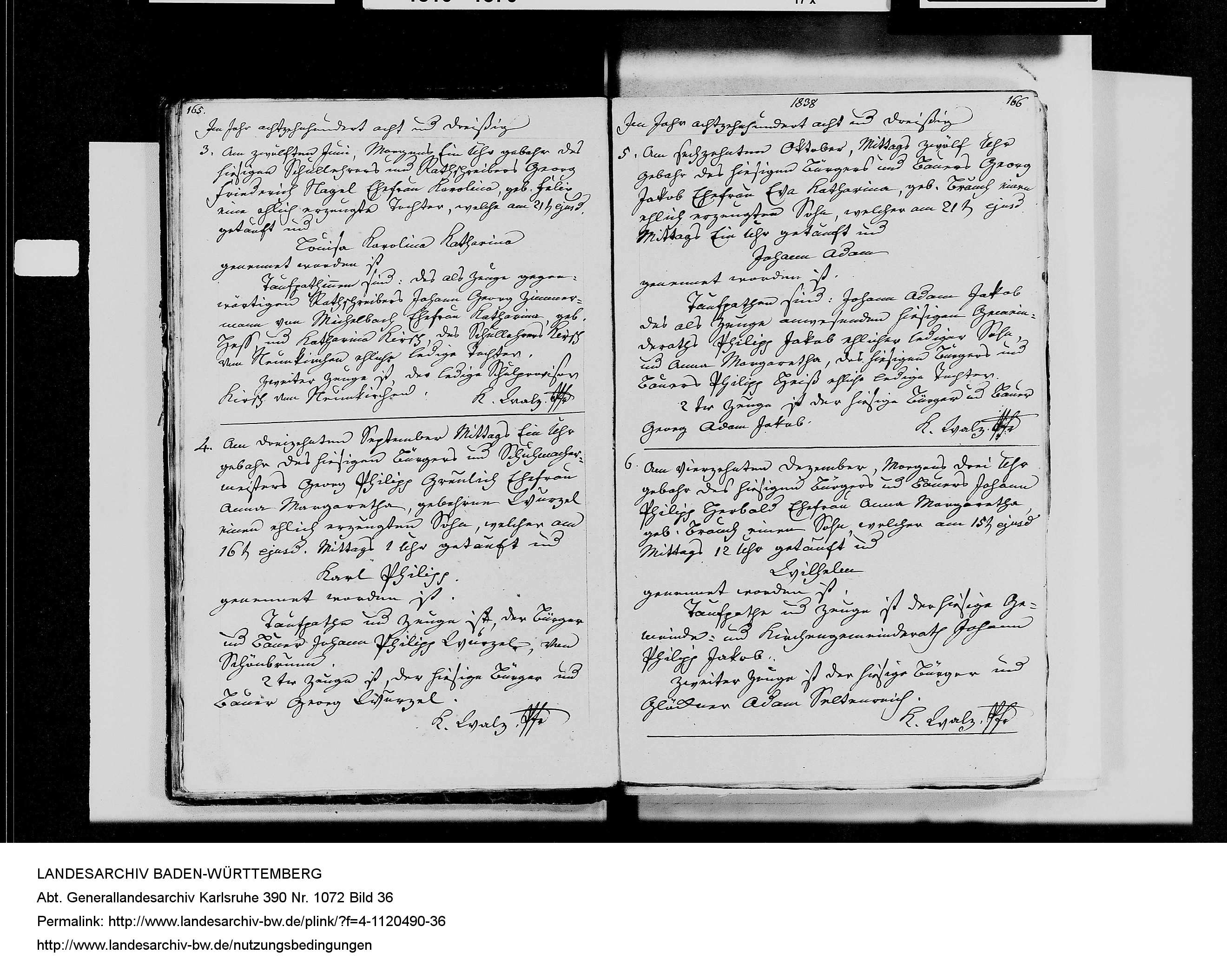 1838 Karl Philip Greulich birth record from the Baden-Wuerttemberg Landesarchiv