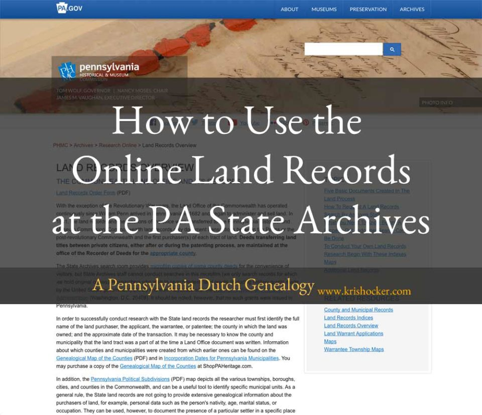 How to Use the Online Land Records at the PA State Archives